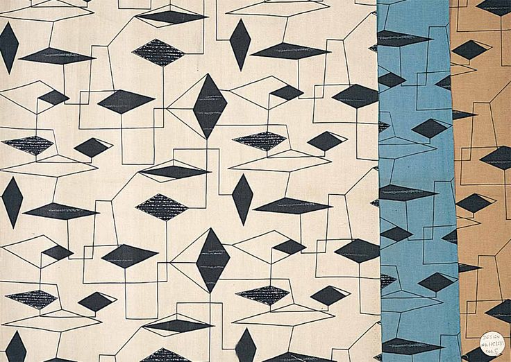 Lucienne Day - dress fabric, c.1954 - This pattern was inspired by the mobiles of Alexander Calder, an artist much admired by Lucienne. The juxtaposition of lines and solids is very characteristic of her designs.