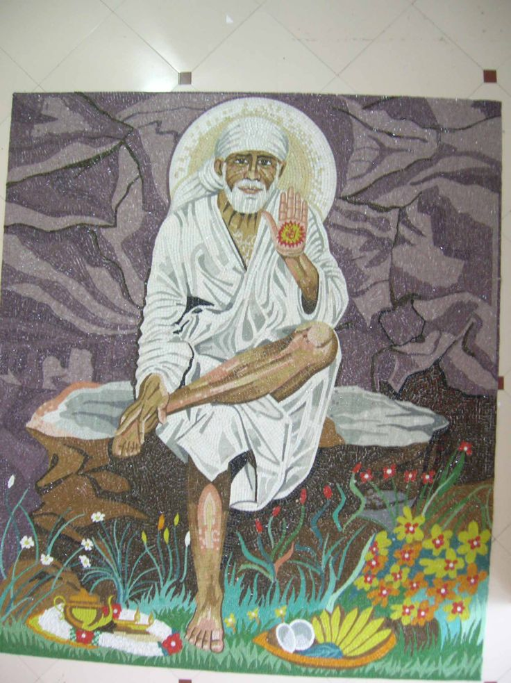 Sai baba picture in hand cut of glass mosaic tile