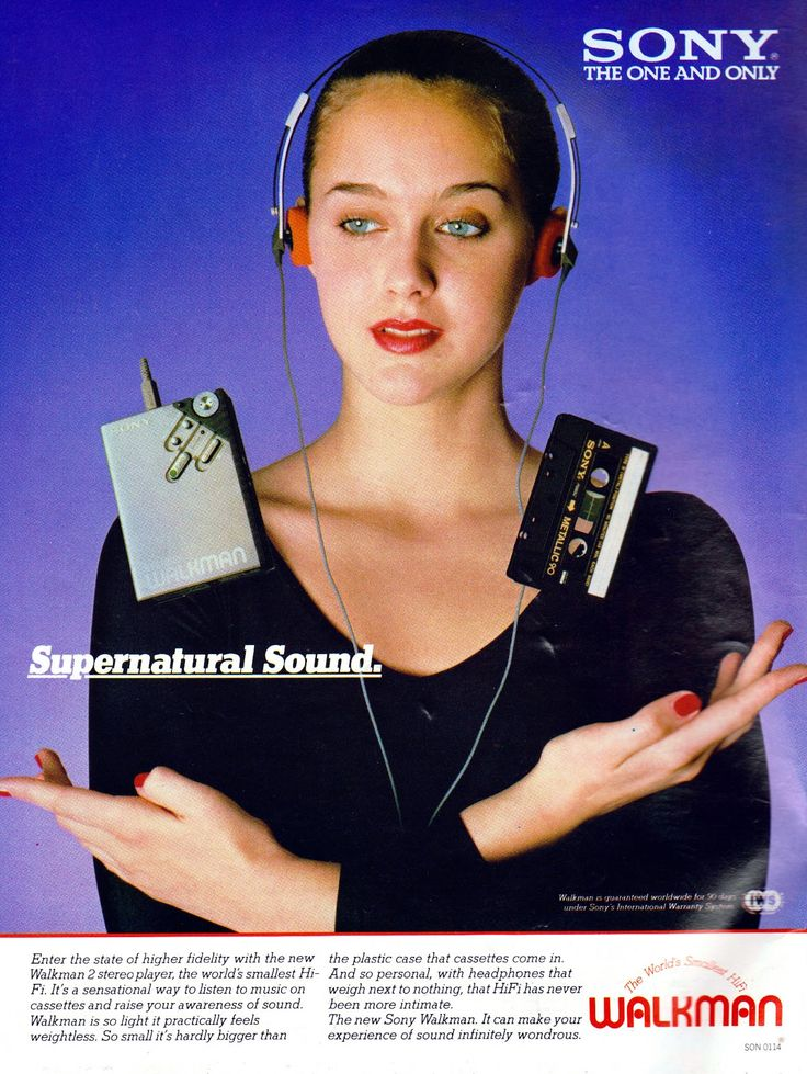 This Sony walkman ad shows the increase in technology for personal use. It also shows how the music industry was becoming more and more popular.