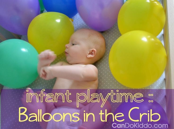 How to play with your infant - balloons in the crib for 2 to 5 month olds