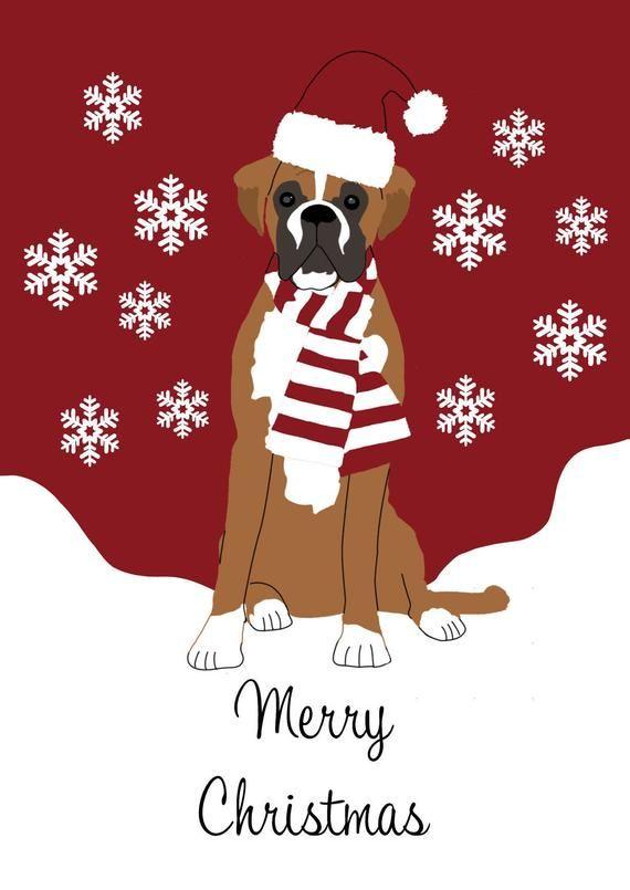 Dog Christmas Cards 2020 Boxer Dog Christmas Card | Christmas Gift For Dog Lovers | Dog