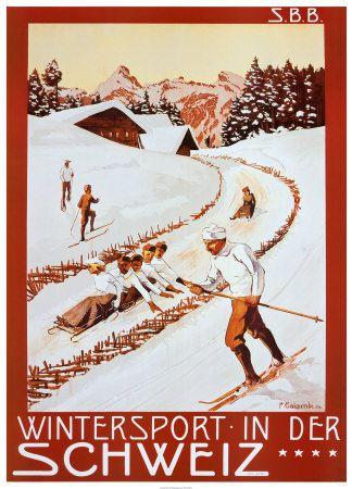 Winter Sport in Der Schweiz Impressão artística
