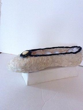 Soulier porte-bijoux paillettes ivoire et noir   No. 0610