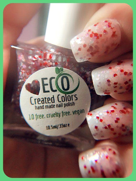 Red Glitter Nail Polish Flakes Nail Polish Natural Eco 10 Free Nail Polish Vegan Nail Polish Handmade Nail Polish Valentine Crush Red Glitter Nail Polish Nail Polish Free Nail Polish