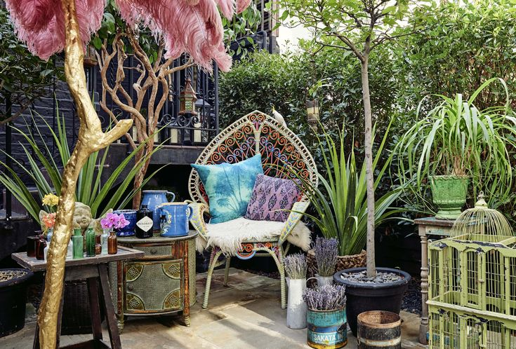 """""""My favourite object in the space I have created at Blakes is my brightly-coloured plastic 'peacock' chair. I've had the chair for about 10 years now and it's been well loved over those years."""" Detail of the Hendrick's Horticultural Oasis at Blakes Hotel 2015, created in collaboration with Matthew Williamson. #MWblakes"""