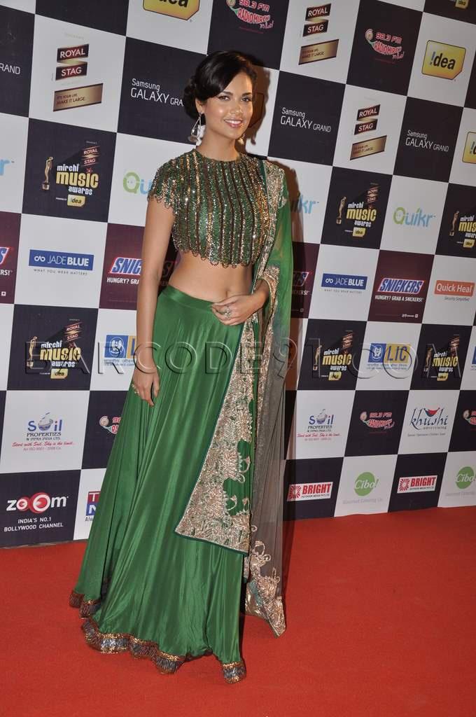 Isha Gupta looks fabulous in Green gold Lehenga