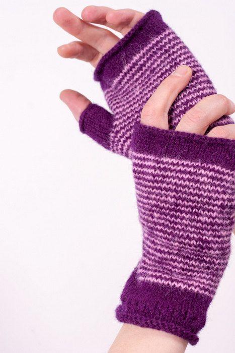 WARMY Lavender fingerless gloves for men