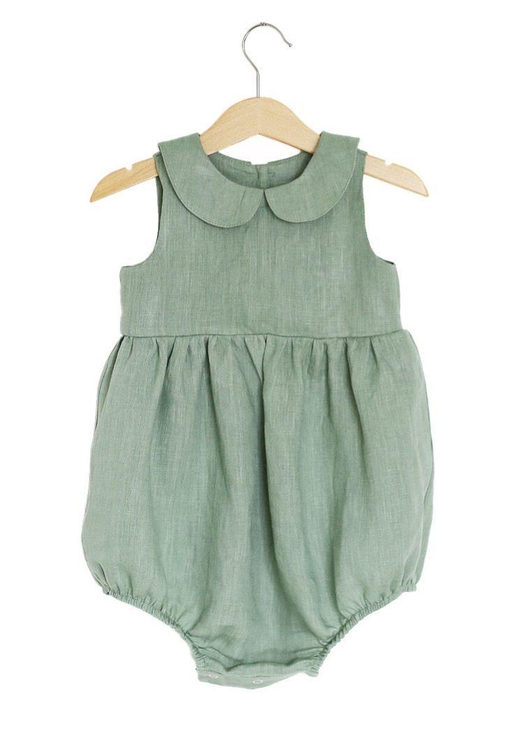 d161ee33f Beautiful Handmade Green Linen Baby Romper