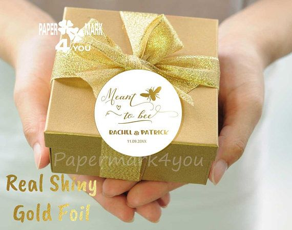 24 Real Gold Foil Mint to Bee_ Foil Wedding Personalized Tag _