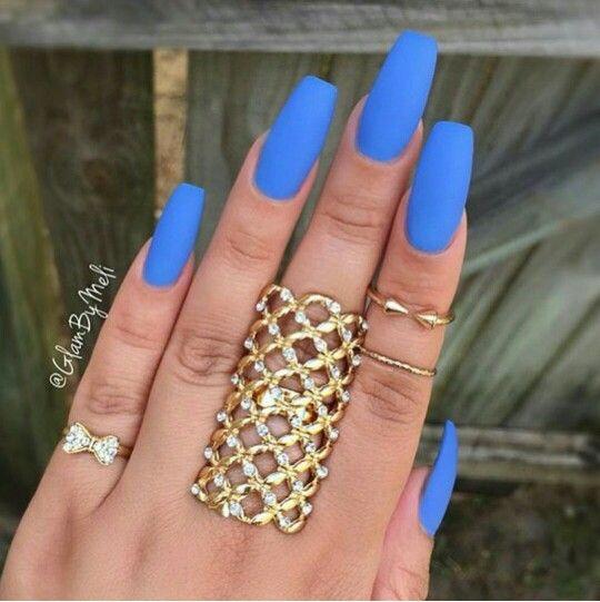 Matte blue Coffin nail shape