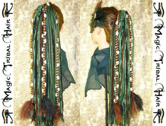 Forest WITCH wicca DREAD FALL Reenactment Fantasy yarn hair extensions dreadlocks with cowry braids Larp costume Fairy Elf wig Tribal Fusion