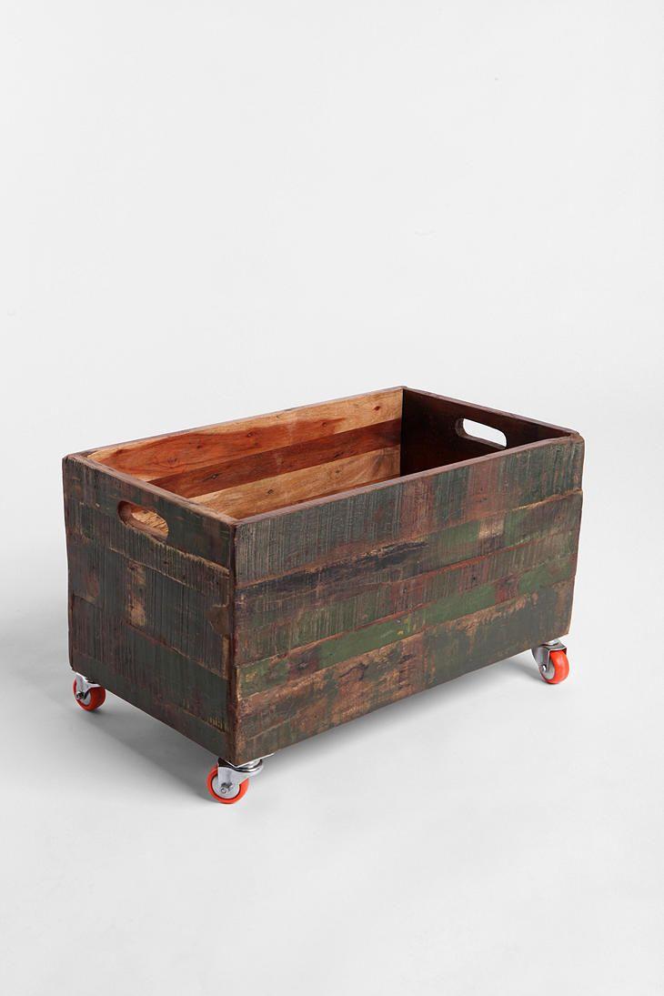Vintage Wood Rolling Cart