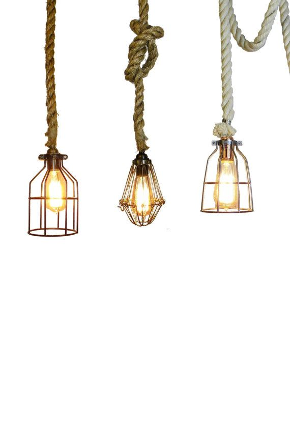 Manila Rope Cage Pendant Light  Modern Industrial Chandelier  Rustic  Lighting Hardwired Or Plug In   Lamp Guard Industrial Pendant