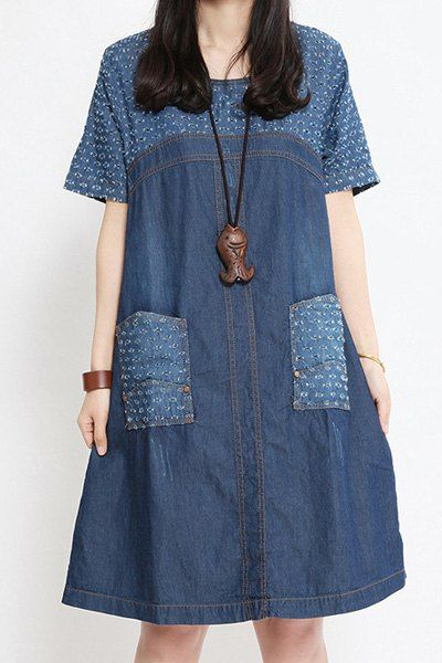 Hollow Out Spliced Fashionable Scoop Neck Short Sleeve Denim Dress For Women