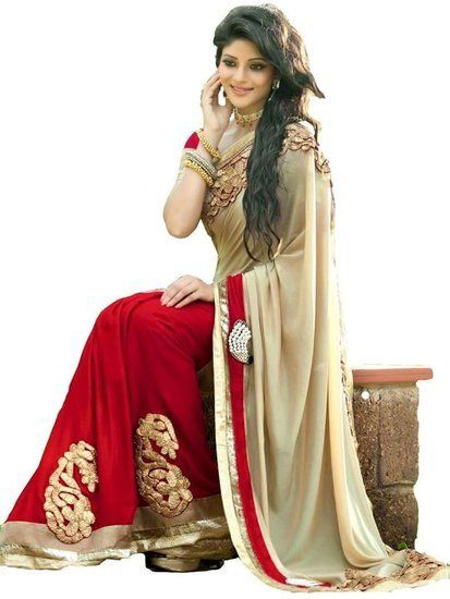 Buy Jahnavi Creation Beautiful Beige & Red color Embroidered Georgette Saree Online India - 2043492