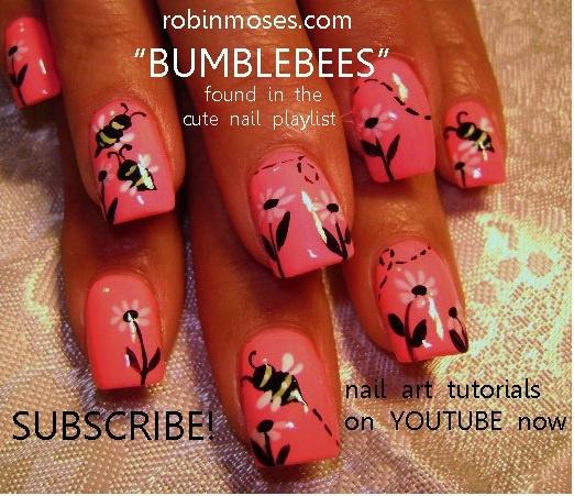 bumble bees and daisies nail art