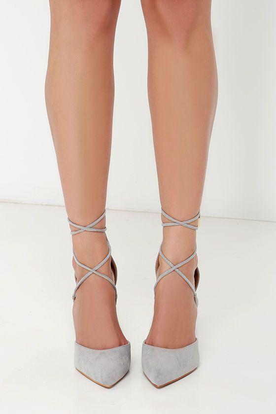 Leading Role Grey Suede Lace-Up Heels at Lulus.com!