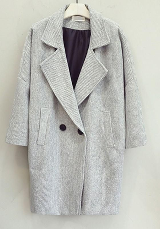 0890a029672 LoverMalls Grey Pockets Buttons Draped Oversize Turndown Collar Long Sleeve  Coat  christmas
