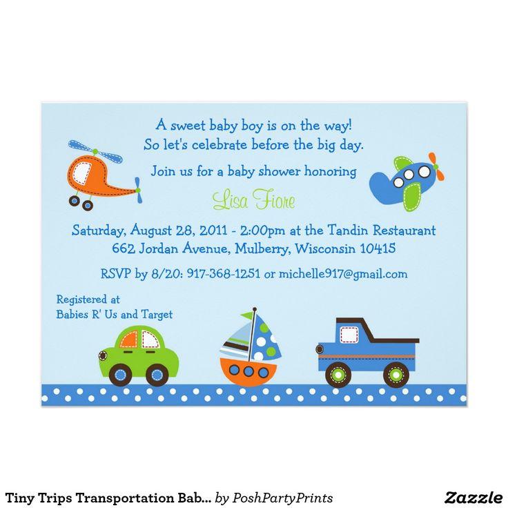 20 best Transportation Baby Shower Invitations images on Pinterest