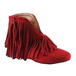 @Overstock - A plunging front is trimmed with fringe and lends a daring touch to these western-style Fantasy ankle booties by Machi. Metal studs and a bright red color complete these retro go-go  boots with unique charm.http://www.overstock.com/Clothing-Shoes/Machi-by-Beston-Womens-Fantasy-1-Ankle-Booties/7585638/product.html?CID=214117 $35.49