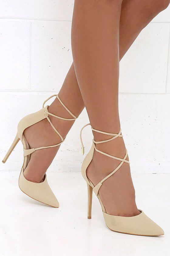 Cute Nude Heels - Lace-Up Heels - Caged Heels - $36.00