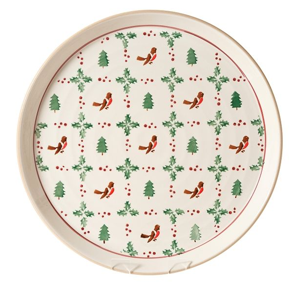 """Winter Robin Presentation PLatterLarge, flat, and with a bit of a lip, these platters make perfect party food plates, and look great as you sashay around the room with your canapés. (Even cheese and crackers look good on these platters…) Some people even hang them on the wall like decorative pictures. Needless to add, they make superb and impressive gifts for any occasion, reason, or VIP.  Measurements:  35 cm dia (14"""" dia)"""