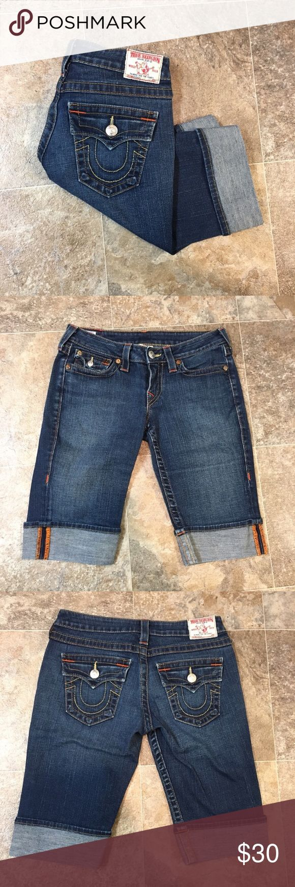 True Religion jean shorts True Religion jean shorts. They're the Sophie style. They are a longer style as well. They are a size 27. They're in great condition, there are no flaws.   🌸BUNDLE AND SAVE  🌸NO TRADES 🌸REASONABLE OFFERS CONSIDERED  🌸FEEL FREE TO ASK QUESTIONS 🌸I DO NOT MODEL True Religion Shorts Jean Shorts