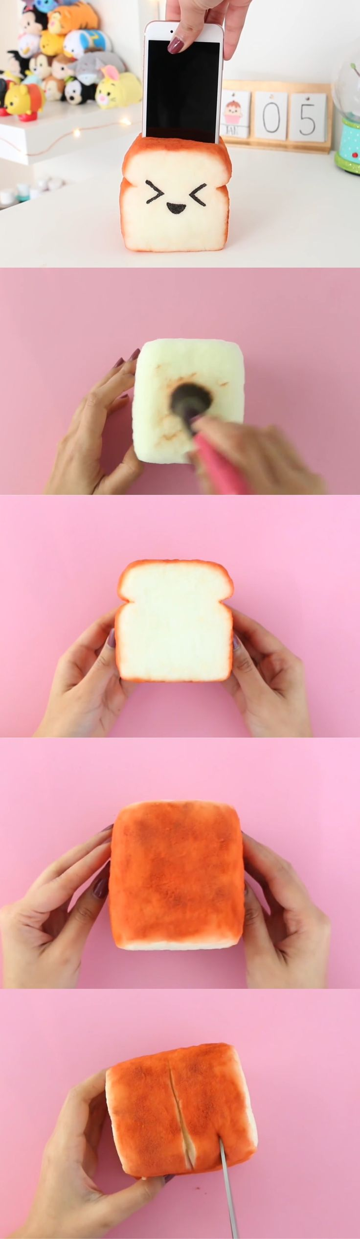 Squishy Animals For Phone : Toast Squishy/Phone holder Part 3Nim C Diy ideas Pinterest Jungle animals, Crafts for ...