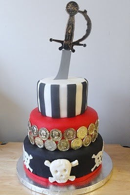 Pirate cake using gold coins and a sword