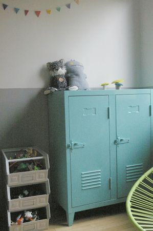 Paint the locker this color + two-tone wall + metal bins