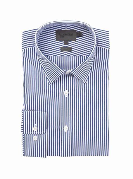 brooksfield huron stripe shirt - BFC930 navy