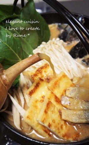 炙り鯖の酒かす味噌の土手鍋風 by ルネ吉村 | レシピサイト「Nadia ... 具材を味噌の上に並べて☆印の昆布味噌出汁を注ぎ入れて、中火で温め、野菜と鯖が煮えたら完成。