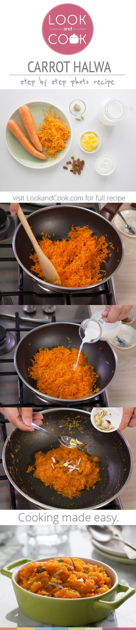 CARROT HALWA RECIPE Carrot Halwa Recipe (#LC14140): This step by step recipe with photos shows you how to make a simple and easy Indian sweet with fresh carrots and milk also known as Gajar halwa for an after meal sweet treat. Get step by step photo recipe at lookandcook.com