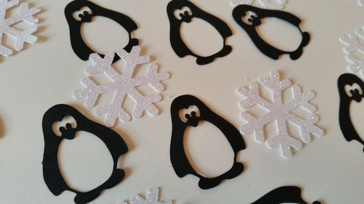 White glitter snowflake & penguin confetti. Christmas table confetti, cake topper penguin and snowflake by Garlandsandgifts on Etsy