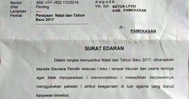 Bupati Pamekasan Madura Keluarkan Surat Edaran Larangan Pemaksaan Atribut Natal Bagi Karyawan Muslim