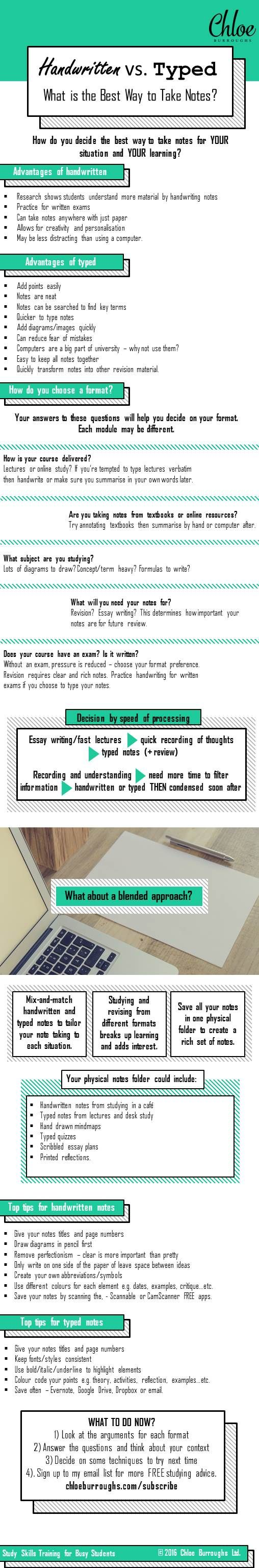 Infographic to help you decide whether to handwrite your notes or type them. It includes advantages of each note taking methods, some note taking top tips and questions about your study and course to help you decide what is best for you