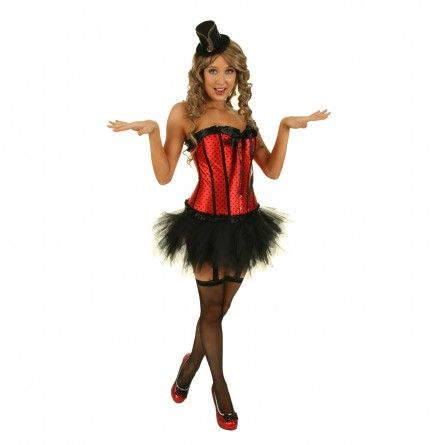Womens Red Pin Up Burlesque Costume