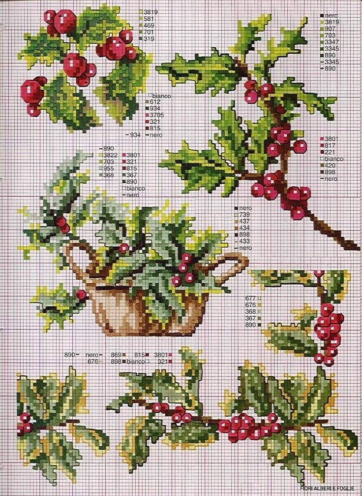 Cross Stitch Holly.... would be lovely on pillows and table runners not only at…