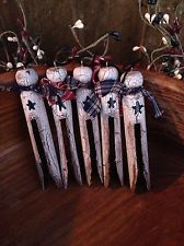 Primitive Wood Clothes Pin Ornaments Make Do Crackle Farmhouse Decor
