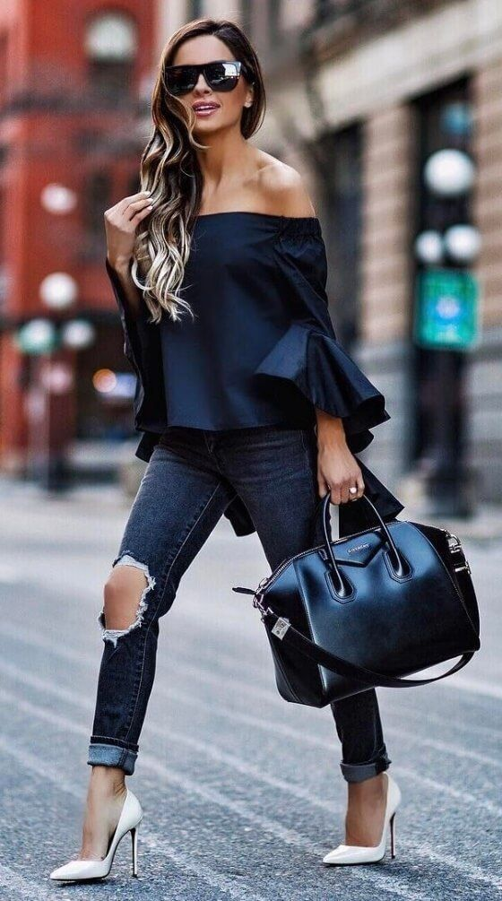 Dark Tones: Bardot Top with Frilled Fluted Sleeves, Distressed Denim, Black Givenchy Antigona + White Court Shoes