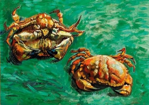 Vincent van Gogh: Two Crabs.  Oil on canvas.  Arles: January, 1889.  London: Faggionato Fine Arts.  (Info from vggallery.com)