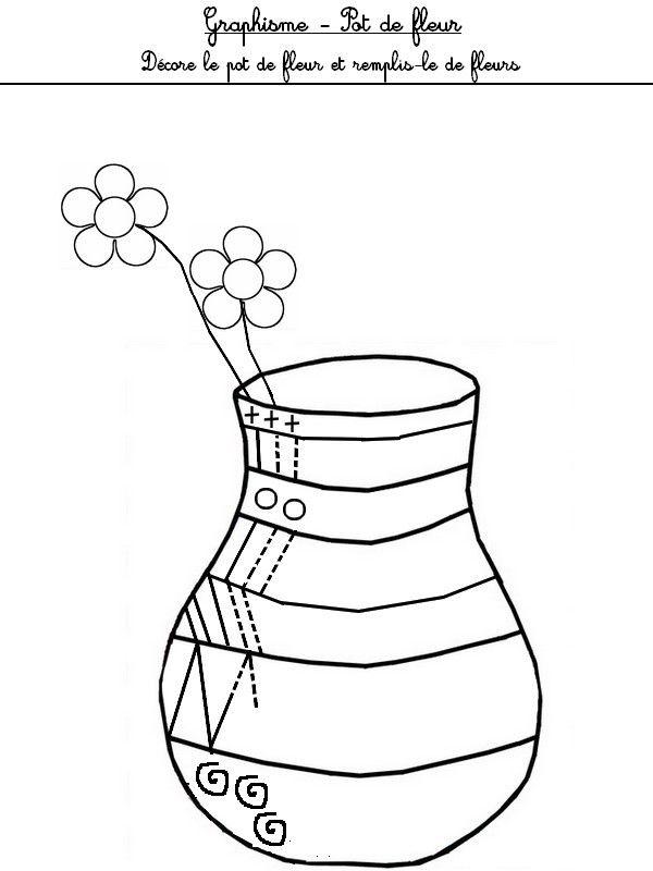 Graphisme d core le pot de fleurs et remplis le de fleurs maternelle printemps pinterest - Activite sur le printemps ...