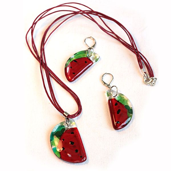 """The jewellery set """"Watermelon slice"""". Implemented in the technique of fusing. The author Peshkina Irina. made in Russia workshop """"Vetroelegante"""""""