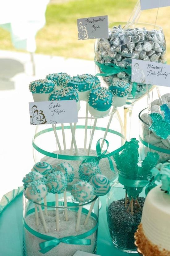 TIFFANY COLORED CANDY | Aqua (Tiffany Color) & White Theme Candy bar I put together: Cake Pops ...