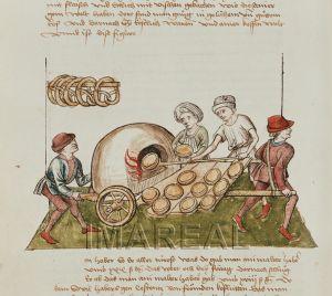 Konzil von Konstanz (Rosgartenmuseum, fol. 23r), 1465; Portable oven. Baking Bread and Pretzels (cooling?)