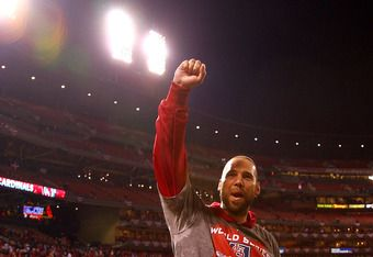 ST LOUIS, MO - OCTOBER 28:  Chris Carpenter #29 of the St. Louis Cardinals celebrates after defeating the Texas Rangers 6-2 to win Game Seven of the MLB World Series at Busch Stadium on October 28, 2011 in St Louis, Missouri.  (Photo by Dilip Vishwanat/Ge