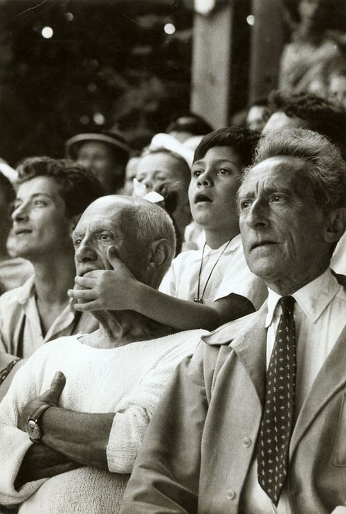 Brian Brake - Pablo Picasso, son Claude & Jean Cocteau at a Bullfight in France, 1955.