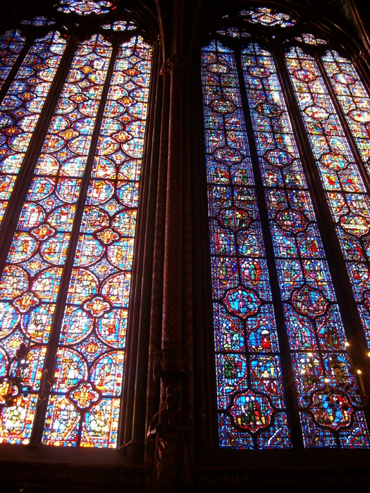 Saint Chappelle, a church that boasts the most elaborate stained glass work in all of Paris. It has 1000 different illustrative panels, all depicting a part of the Bible…from Eden to RevelationsStained Glass