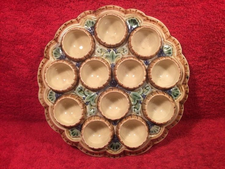 Antique Majolica Fleur De Lys Egg Serving Tray Platter, fm1258 ANTIQUE GIFT!! #Victorian