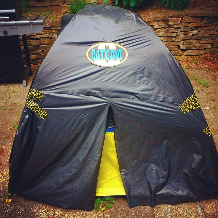 The Batcave. Tent covered in black plastic table cover. Batman and Villains superhero themed : batman cave tent - memphite.com